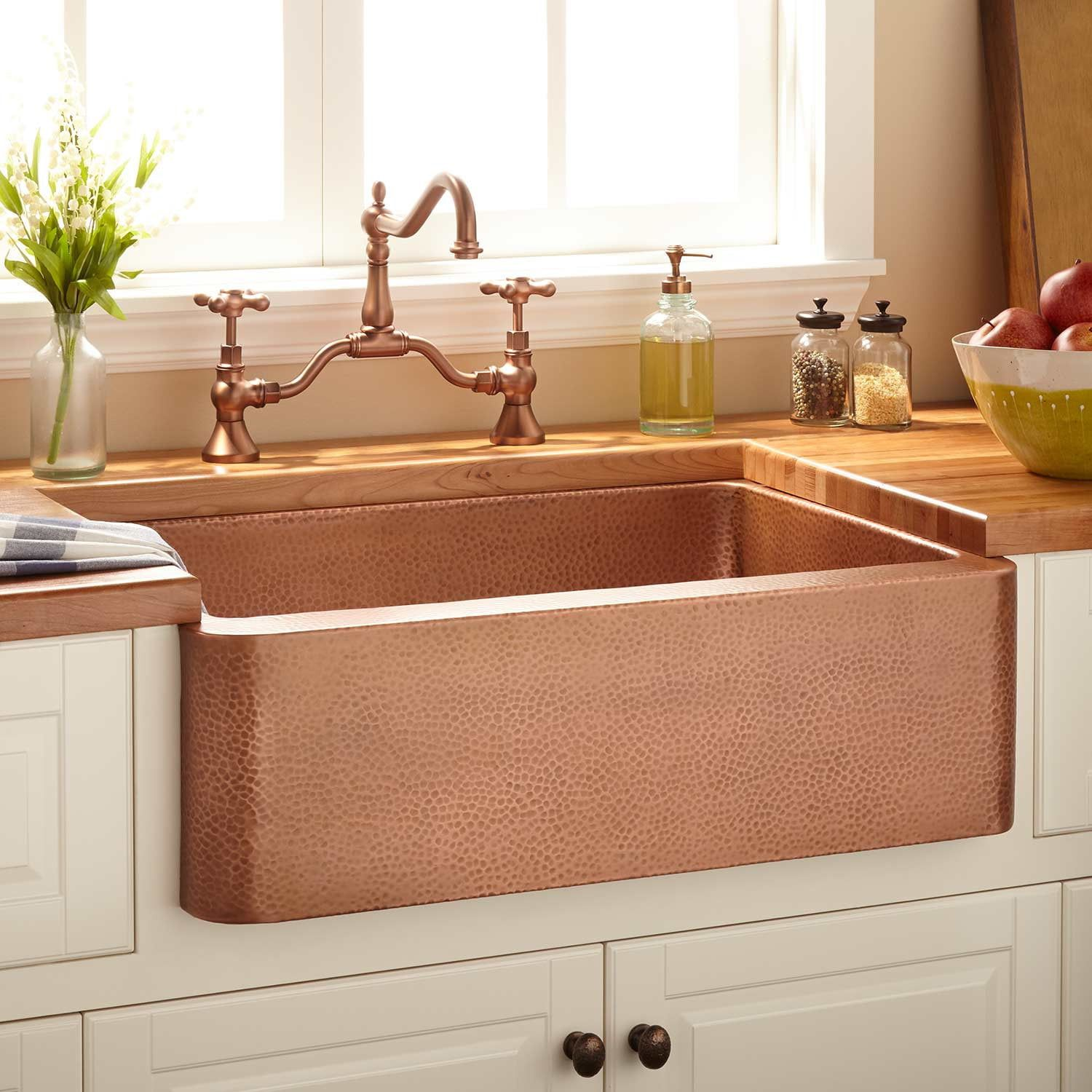 "30""+Fiona+Hammered+Copper+Farmhouse+Sink (With images"