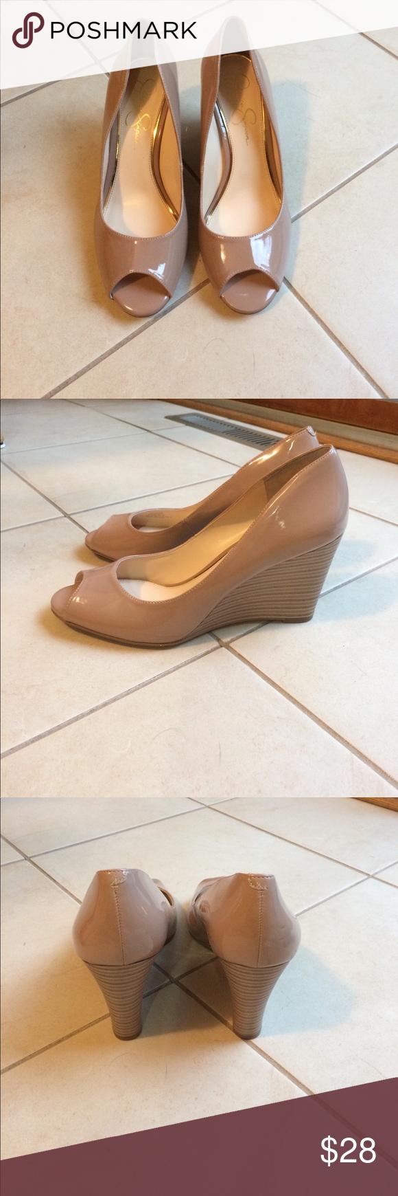 NWOT Jessica Simpson peep toe wedges