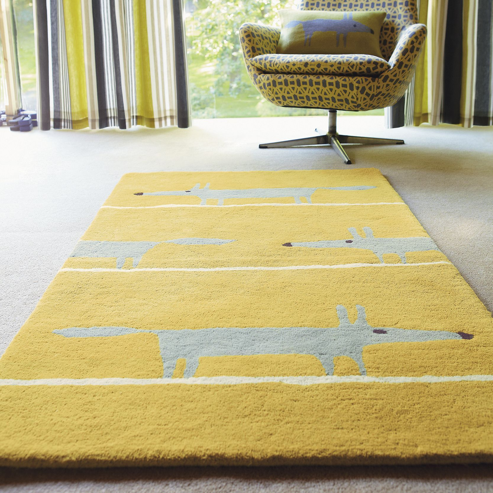 Scion Mr Fox Rug, Yellow, L200 x W140cm Fox rug, Scion