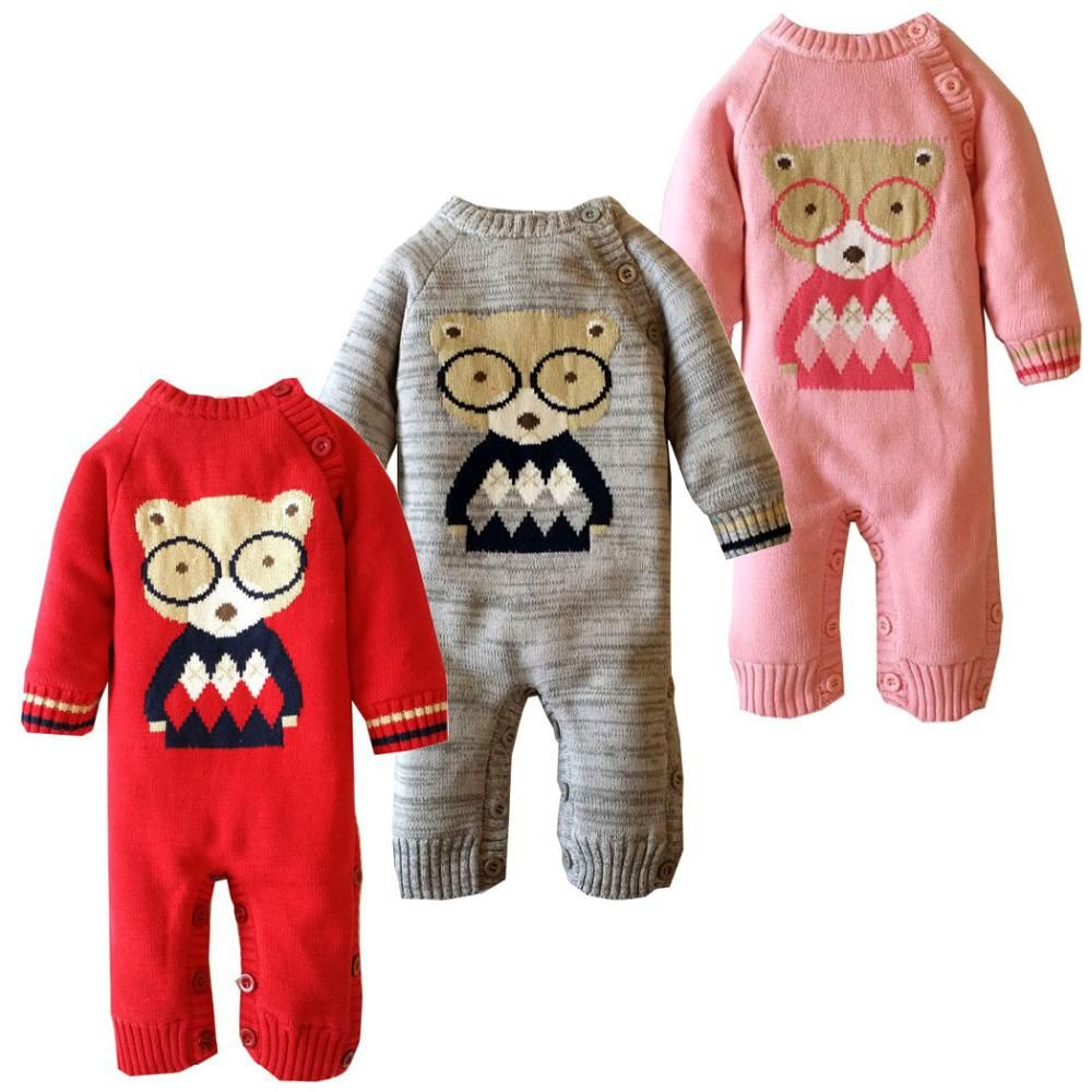 35e0502ab7acb Baby kids thick cotton one-piece suit long sleeve romper sweater baby infant  cartoon winter warm jumpsuit coverall for newborn. Yesterday s price  US   28.60 ...