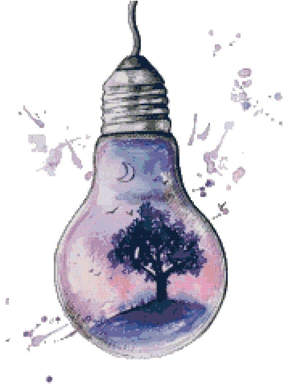 Modern Cross Stitch Pattern, PDF Instant Download, Light Bulb, Abstract, Tree, Life, Abstract Art Cross Stitch Pattern, Galaxy, Watercolor