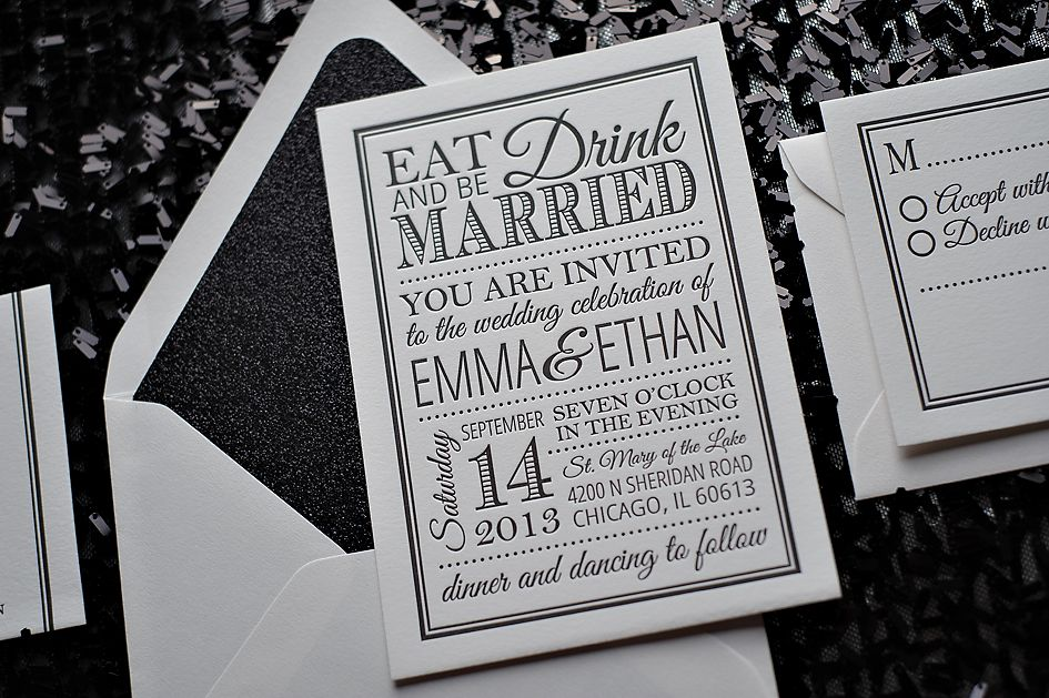Black And White Glamour Invitations, Glitter Wedding Invitations,  Letterpress, Eat Drink And Be Married   Visit Website For Hotel Information? Home Design Ideas