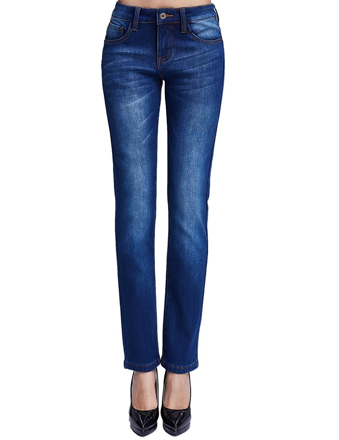 hot-selling great discount for beauty Women's Thermal Slim Fit Fleece Lined Jeans - Blue (New Size ...