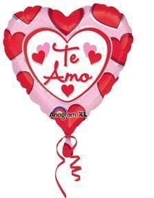 18'' Te Amo Hearts Foil Balloons (5ct)