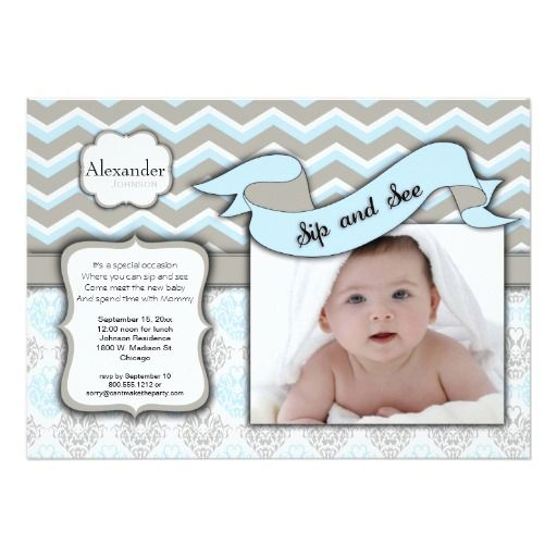 Chevron Sip And See New Baby Boy Photo Template | Zazzle com | baby