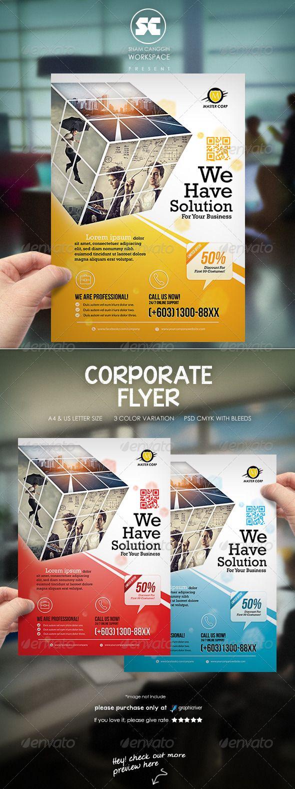 Clean Corporate Flyer Magazine Ads Desain Brosur Brosur Desain Grafis