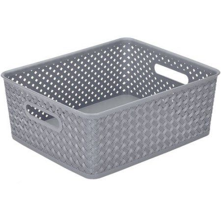 """Free 2-day shipping on qualified orders over $35. Buy Resin Wicker Storage Tote, Medium 14"""" x 11.5"""" x 5.15"""", Basket Weave at Walmart.com"""