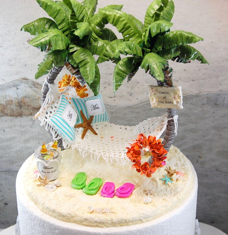 Beach Wedding Cake Topper 6 Inch, Custom Colors, Base Fits