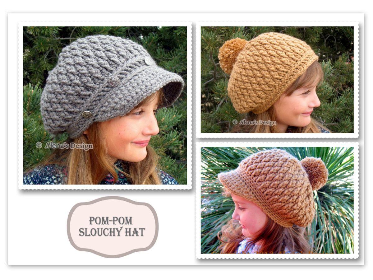 Crochet Hat Pattern - Crochet Pattern 089 for Pom-Pom Slouchy Hat ...
