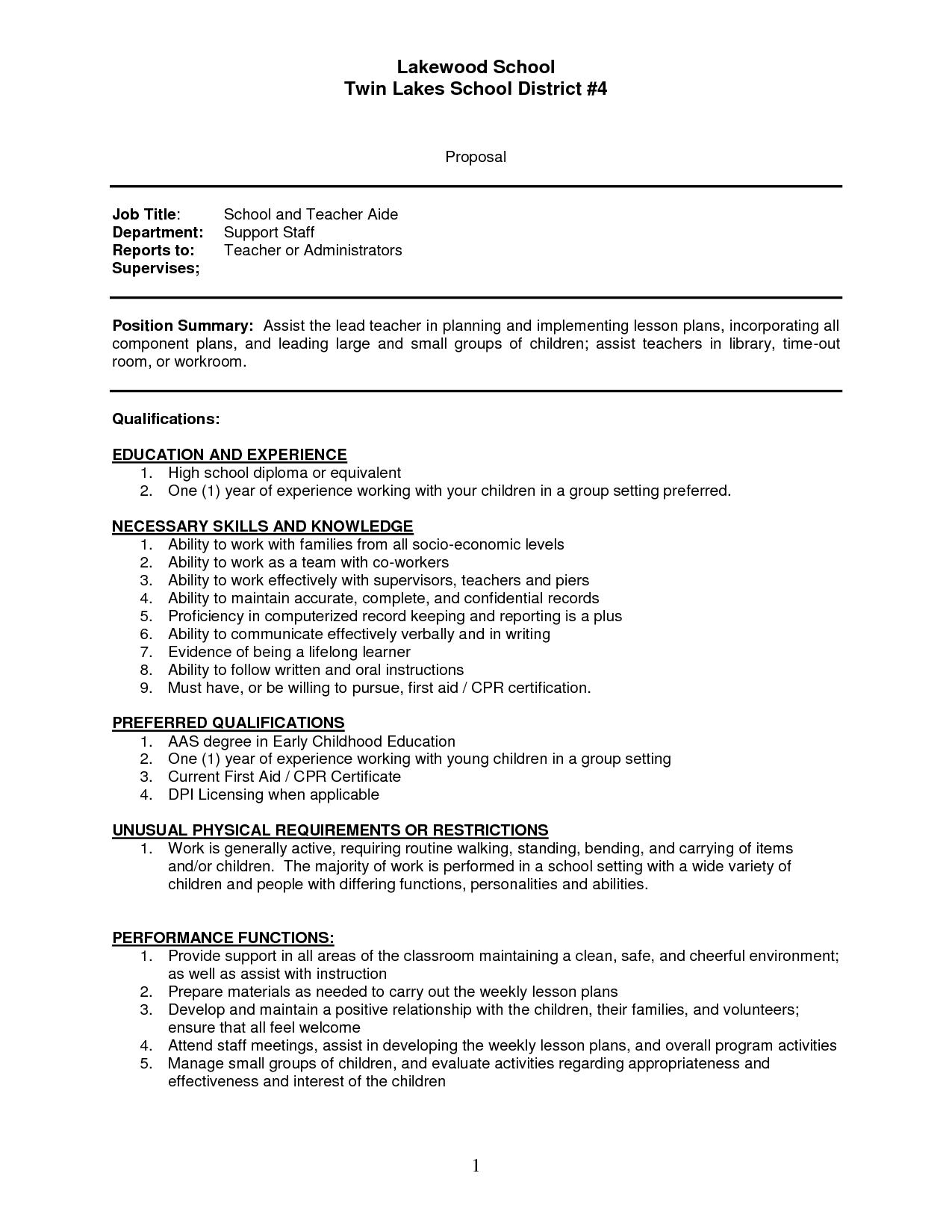Teacher Assistant Sample Resume Sample Resume Of Teachers