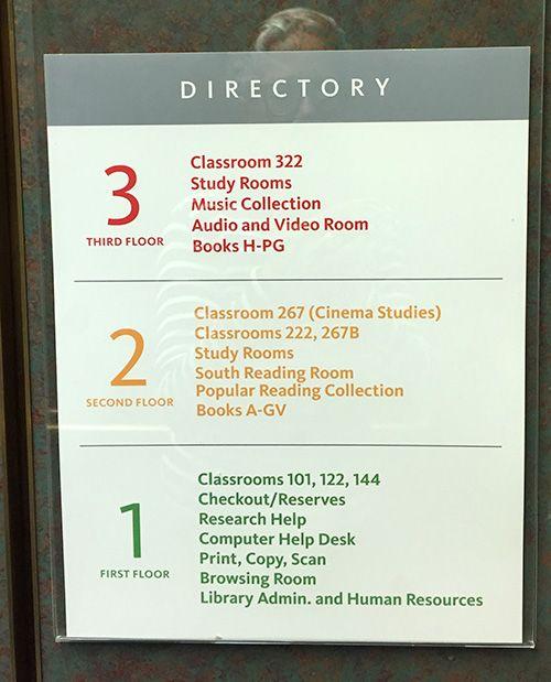 Elevator Directory Directory Signage Library Signage Signage