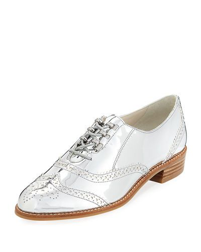 be2b794365 STUART WEITZMAN Darling Lace-Up Metallic Loafer, Silver. #stuartweitzman # shoes #