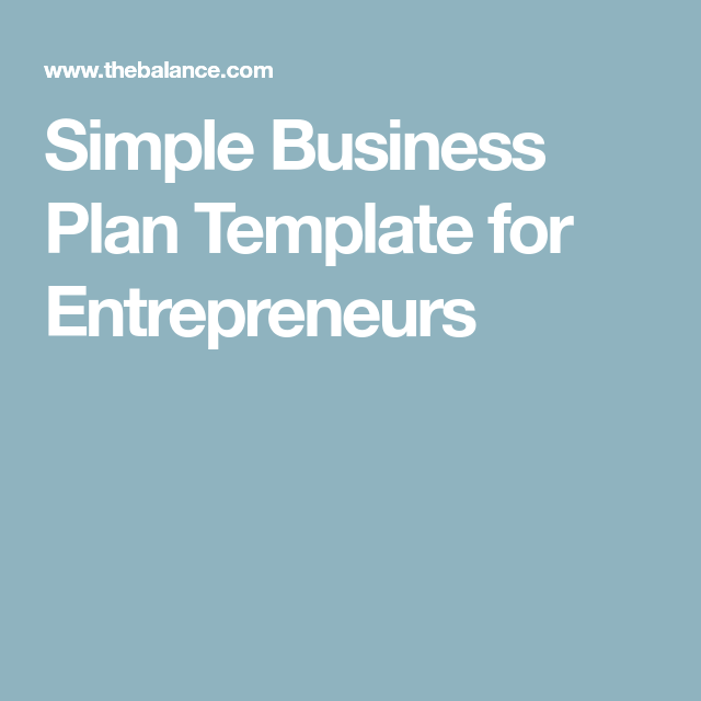 Simple Business Plan Template For Entrepreneurs