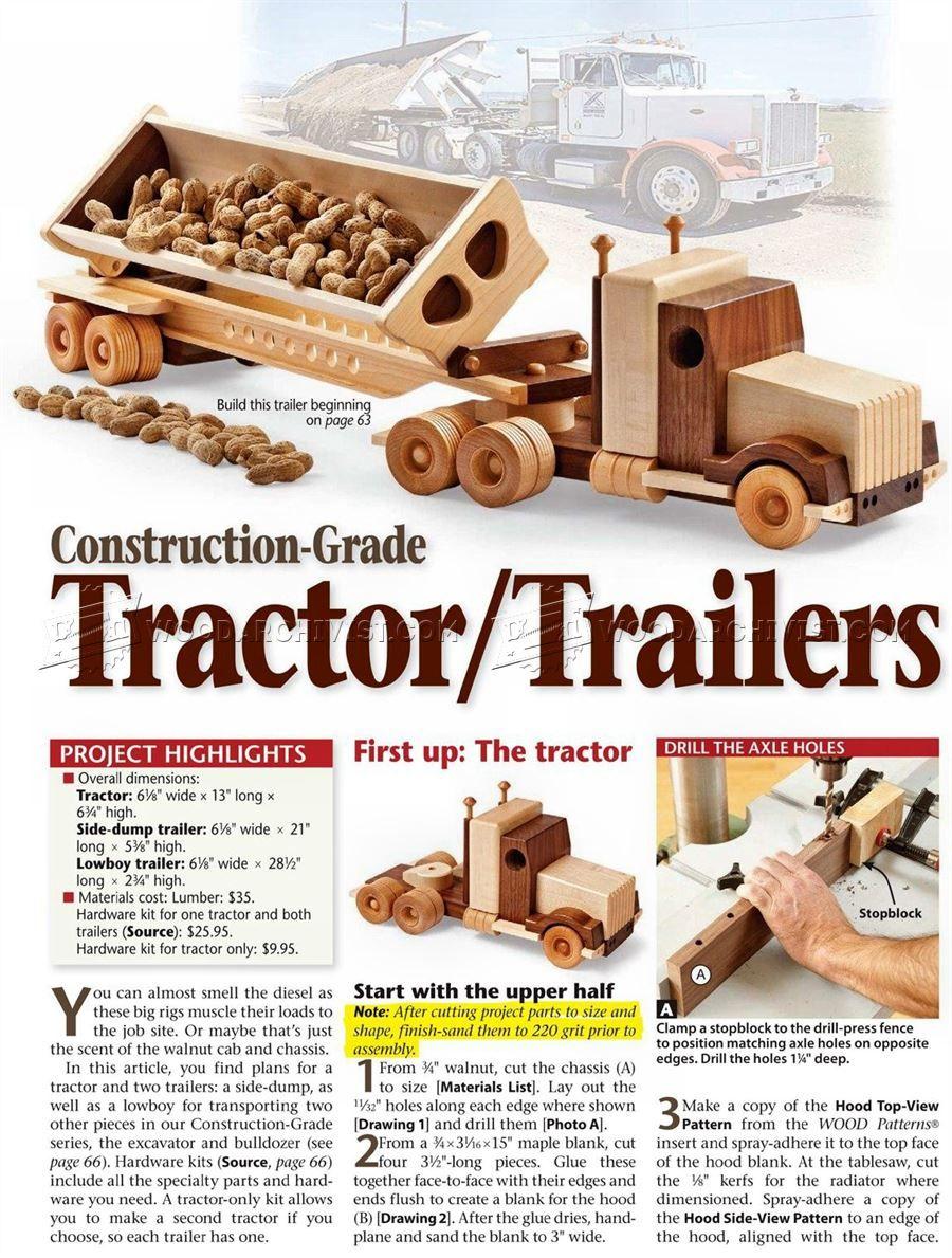 1791 wooden truck and trailer plan - children's wooden toy