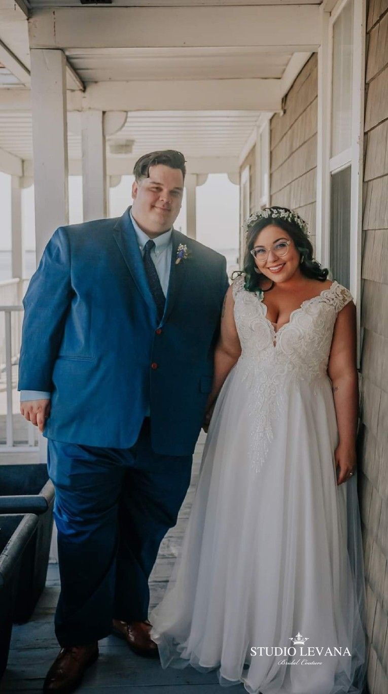 Real Bride Wearing Plus Size Corset Wedding Dress With Deep V Neckline And Flowy Tulle Skirt Trac Wedding Dresses Plus Wedding Dresses Plus Size Wedding Gowns,Nursing Dresses For Wedding Guest