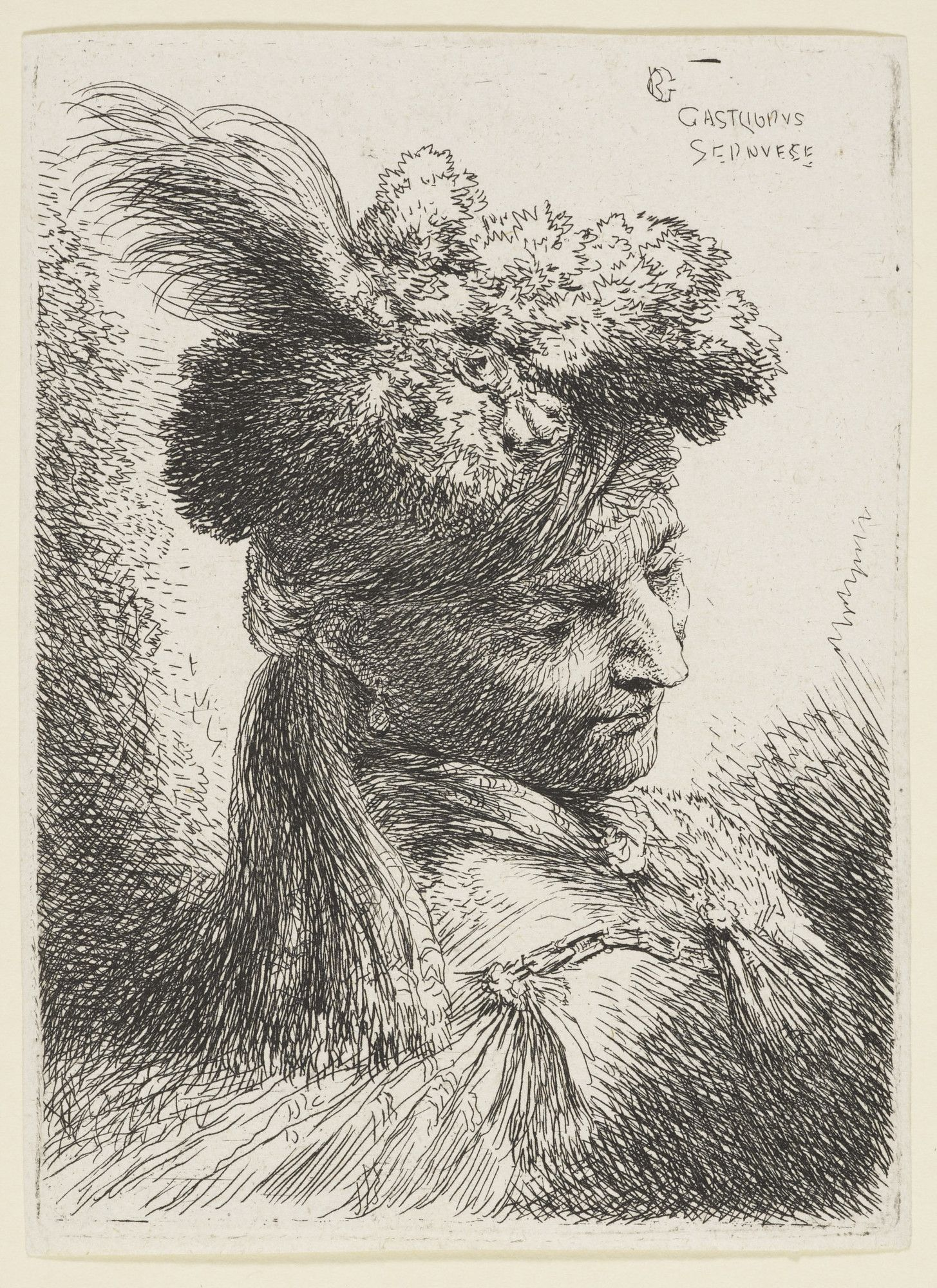 Giovanni Castiglione (1609-64). A man in a plumed headdress, c. 1645-50,  Etching, 10.8 x 8.0 cm. Royal Collection Trust.