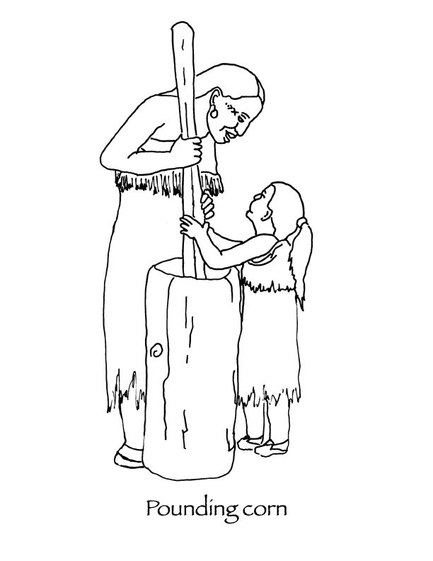 Thanksgiving Coloring pages Wampanoag woman and child pounding corn