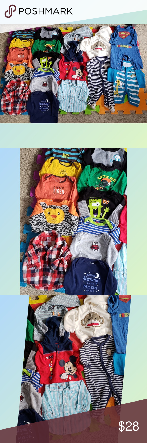 d2e9669d94 Baby boy cold weather bundle All EUC 9 LONG SLEEVE ONESIE 2 FLANNEL 1 LONG  SLEEVE