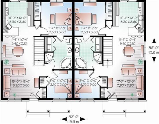 Multi Unit House Plans Home Design 3050 Family House Plans House Plans Duplex House Plans