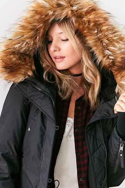 Lucita leather effect faux fur trim parka jacket
