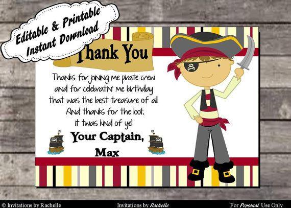 pirate birthday party thank you card - editable printable digital, Birthday invitations