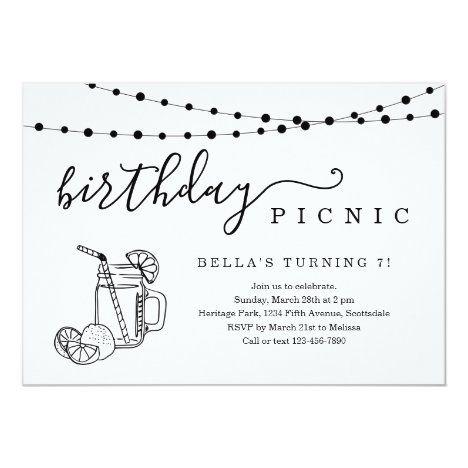 Birthday Picnic Party Invitation Zazzle Com Bbq Party Invitations Picnic Party 1st Birthday Party Invitations