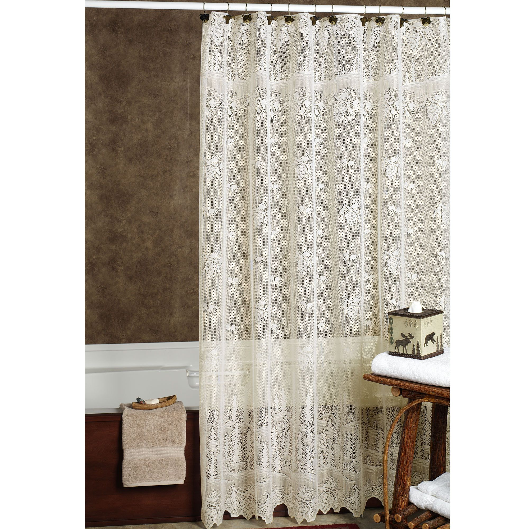 Pine Cone Lace Shower Curtain With Images Lace Shower Curtains
