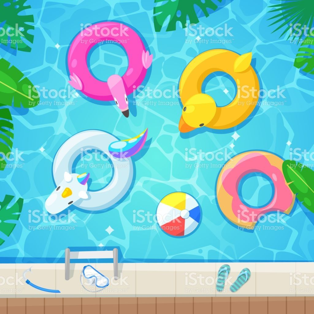 Swimming Pool With Colorful Floats Top View Vector Illustration
