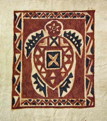 Authentic Samoan Turtle Siapo Bark Cloth Art From The