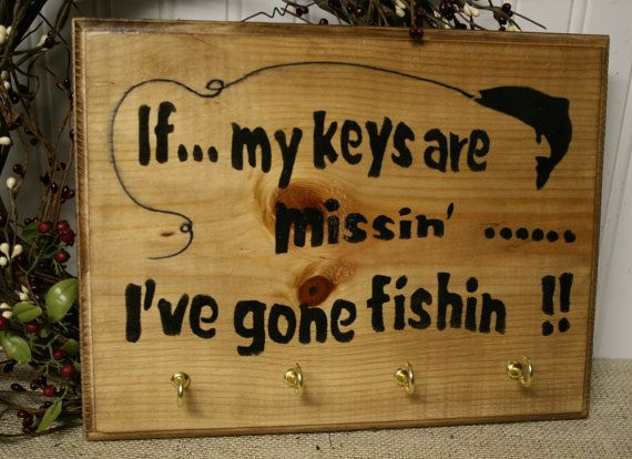 Gone Fishing Signs Decor Fishing Key Rack Sign  Funny Fishing Signnaturesglow On Etsy