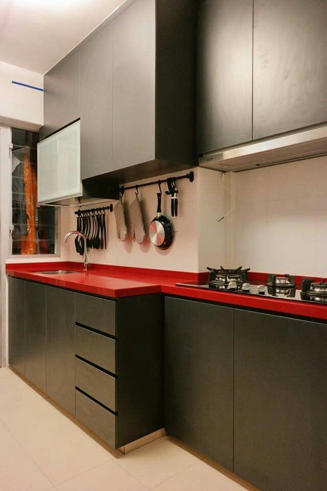 Black and red | Kitchen, Kitchen cabinets, Home decor