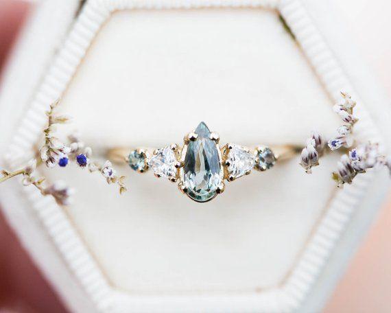 Elongated green gray sapphire cluster engagement ring, pastel sapphire, pear sapphire - Yolanda #aquamarineengagementring