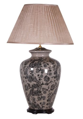 Very Large Blue Patterned Ceramic Table Lamp With Shade 90cm 189 Harvestmoon Lighting