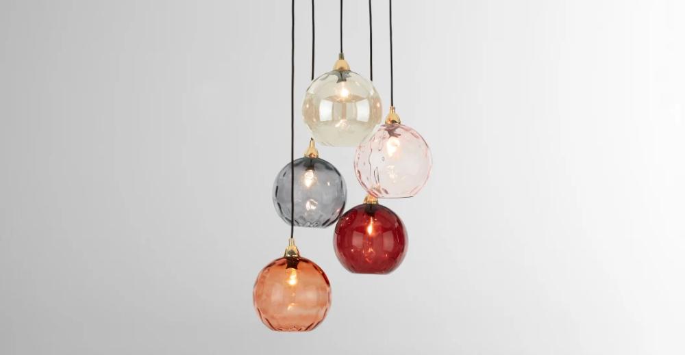 Ilaria clusterlamp, roze en messing in 2020   Messing