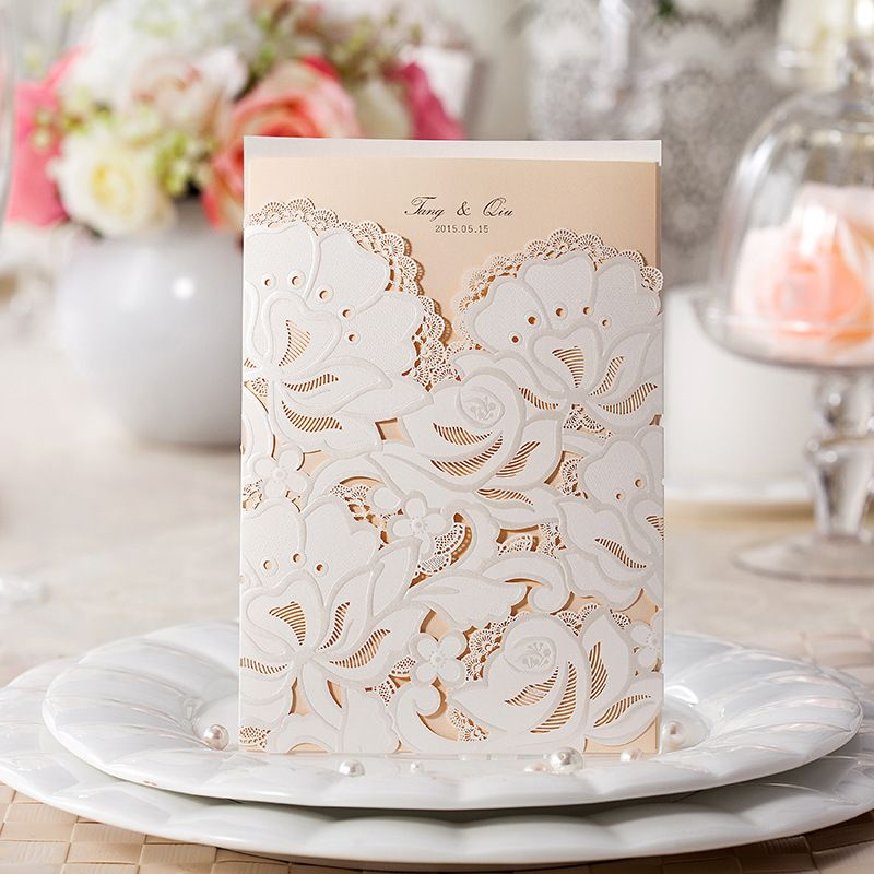 romantic floral laser cut wedding invitation kits EWWS014 Laser - online engagement invitation cards free
