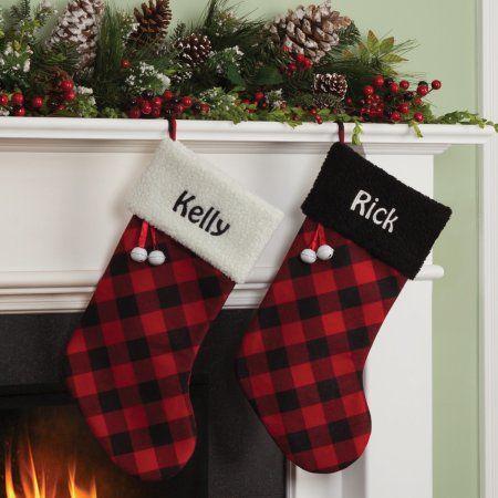 Personalized Buffalo Plaid Christmas Stocking with Black or White