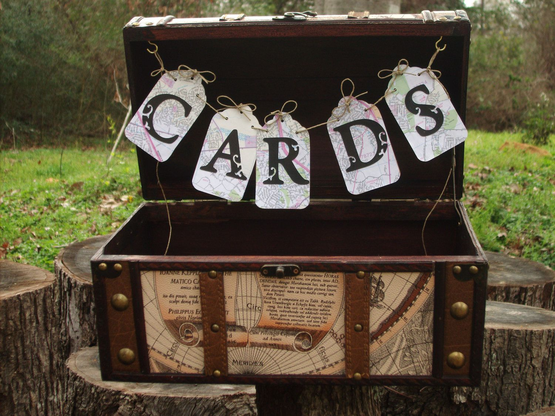 Wedding Card Box Vintage Travel Style Larger Trunk World Map Design