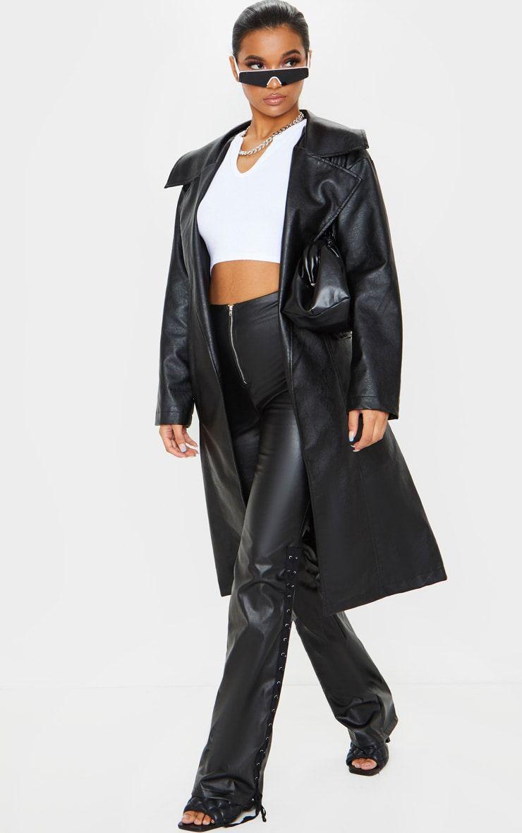 Black Faux Leather Oversized Midi Trench Coat Black Faux Leather Leather Coat Trench Coat [ 1180 x 740 Pixel ]