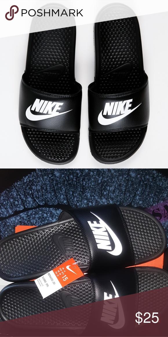 7a4886428898 NIKE BENASSI MEN S SLIDES Brand new with tag and box Nike BENASSI Size 15  Color Black White logo Nike Shoes Sandals   Flip-Flops