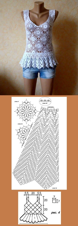 Linda blusa, feita a partir do gráfico de um vestido. http://vk.com ...