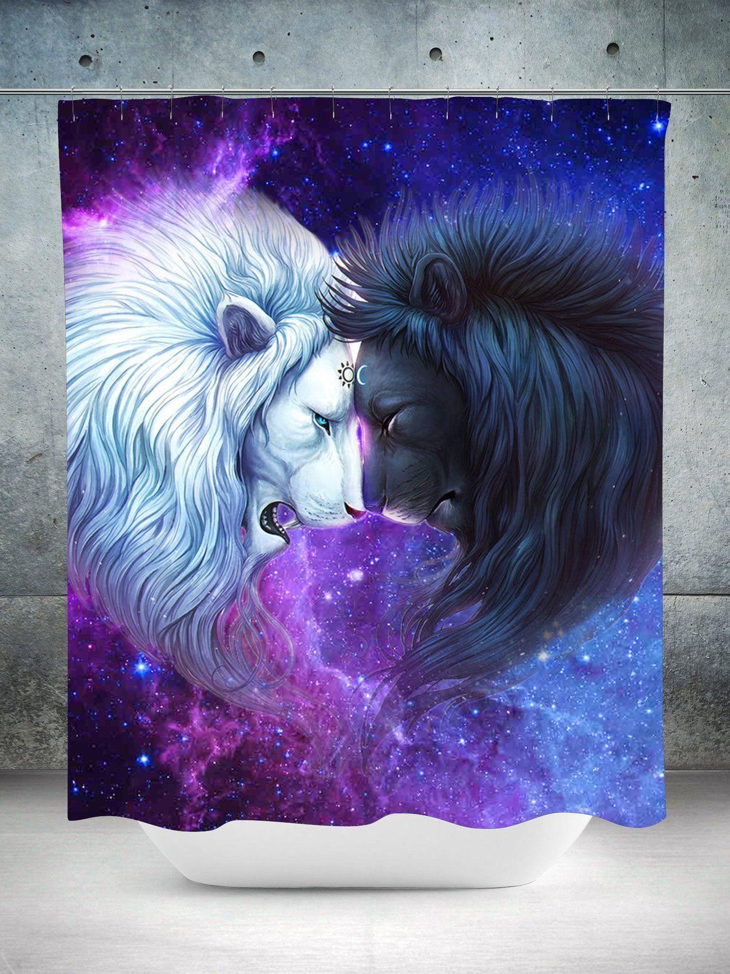 moon lions shower curtain lions