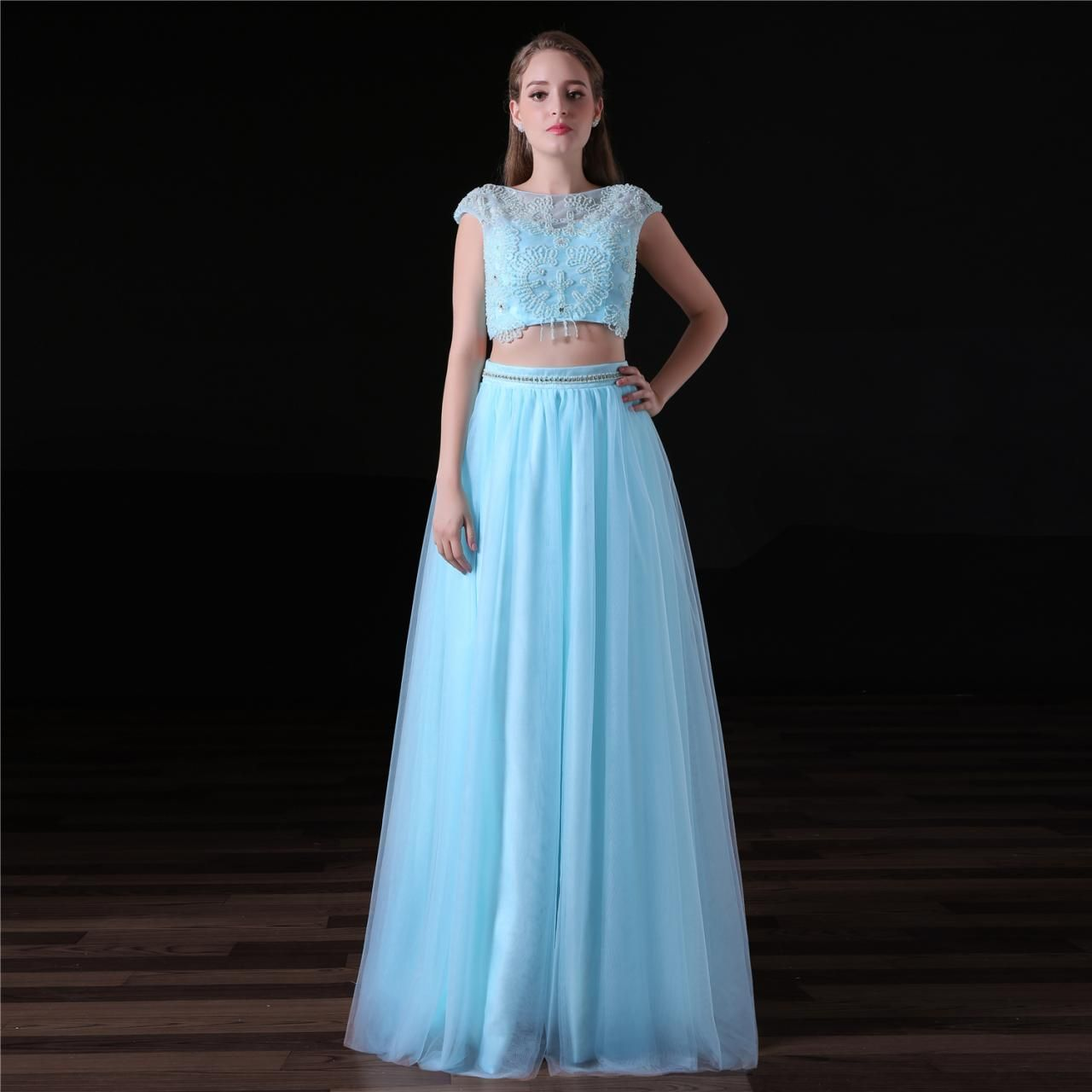 Light blue beaded two piece prom dresses long sheer neck tulle a