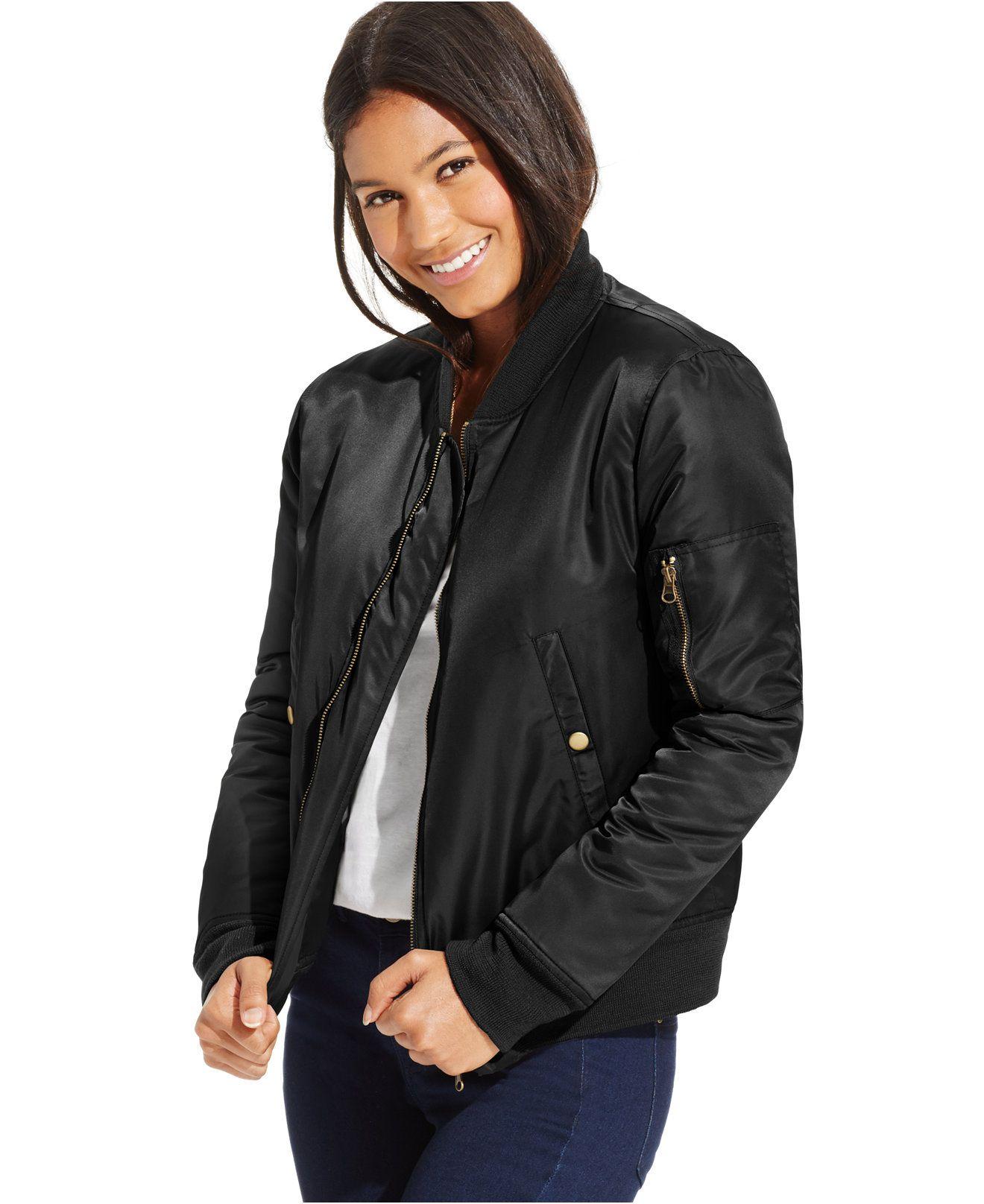 Joe Elle Juniors Zipper Front Bomber Jacket Juniors Jackets Vests Macy S Juniors Jackets Bomber Jacket Black Bomber Jacket [ 1616 x 1320 Pixel ]
