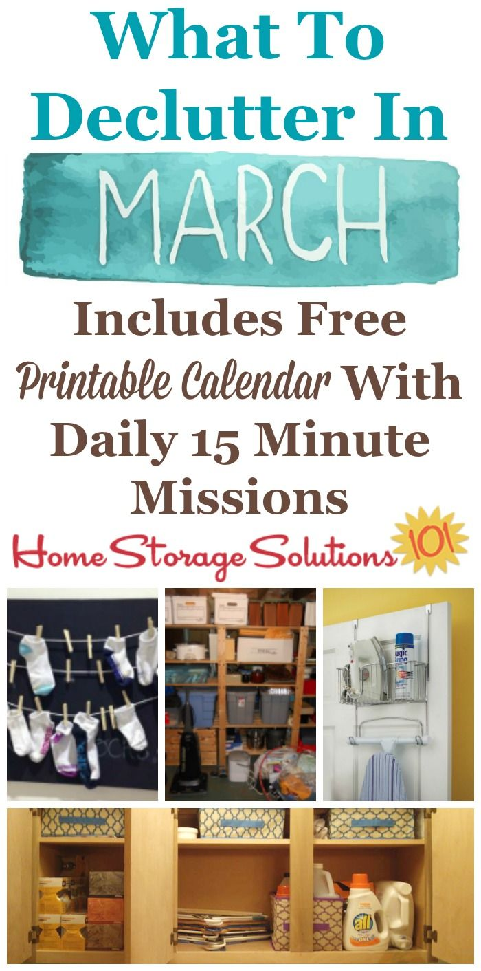 March declutter calendar 15 minute daily missions for for Declutter house plan