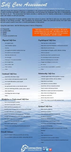 Self-Care Assessment By Paulaqwest | Sw | Pinterest | All., Posts