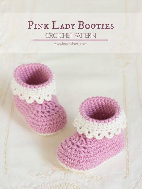 Pink Lady Baby Booties Crochet Pattern | crochet | Pinterest