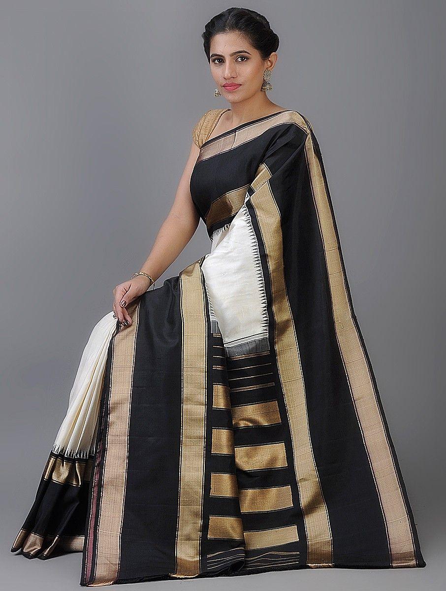 fd2924114f0fe Buy White Black Handwoven Kanjivaram Silk Saree Sarees Woven The Six Yard  Story with zari border Online at Jaypore.com