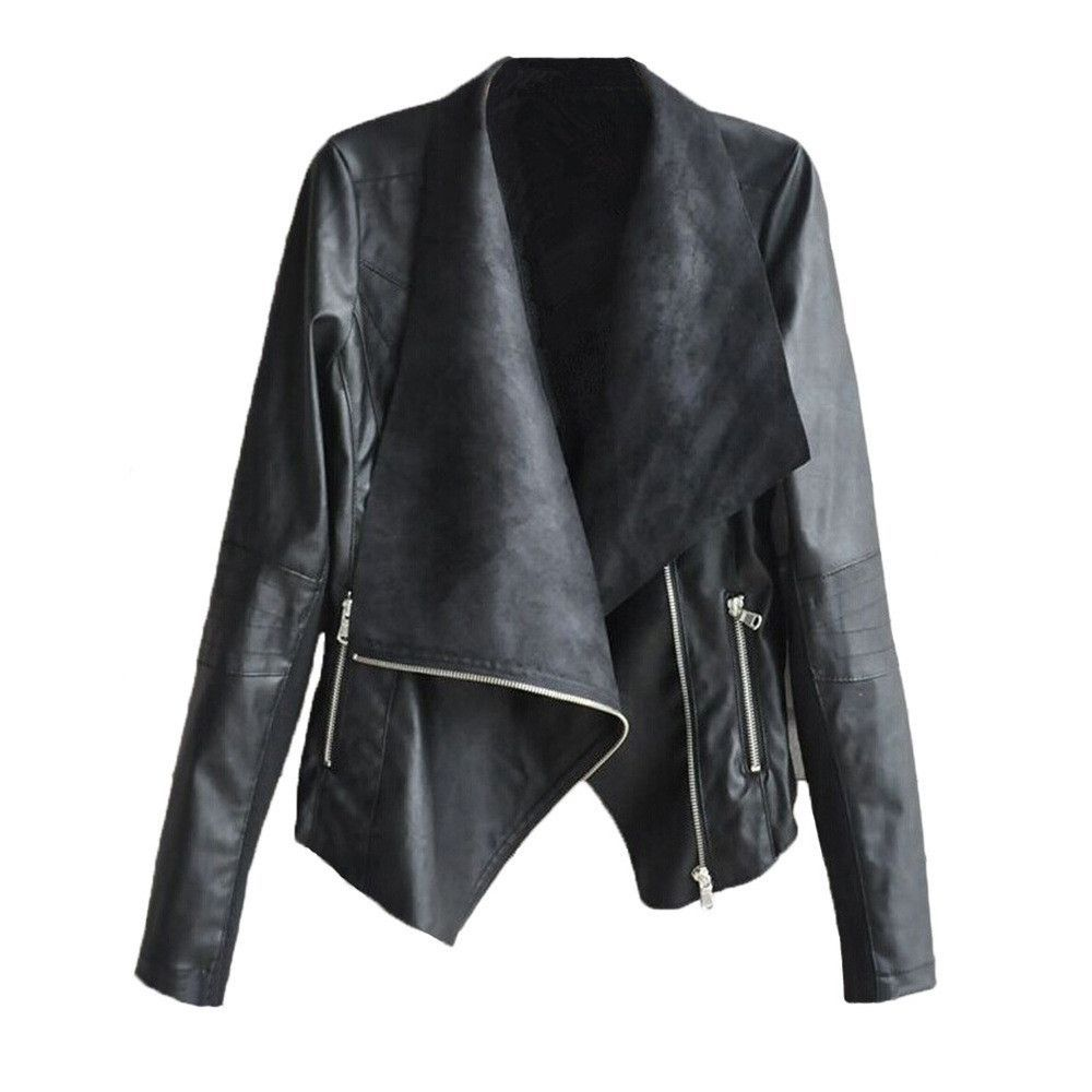 16c7989708 Fashionable Turn-Down Collar Long Sleeve Zippered PU Leather Jacket For  Women