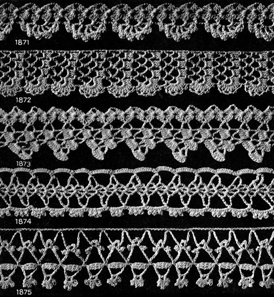 Vintage Crochet PATTERN to make Three Elegant Wide Lace Edging Design Insertion