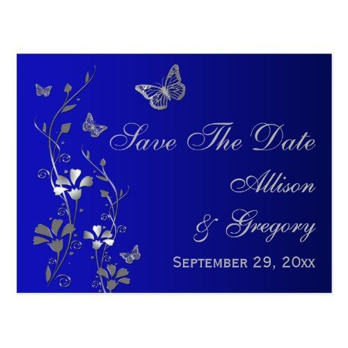 41dd443aeb2 Butterfly Wedding Save the Date Cards Blue